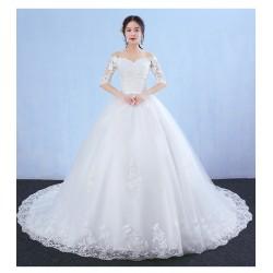 Lt22 一字肩婚紗禮服新娘2020新款長拖尾夢幻公主韓式長袖顯瘦齊地婚紗永和店