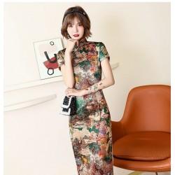 Ch25 2020新款夏秋長款旗袍裙女裝連衣裙修身演出媽媽裝表演中國風綢緞永和
