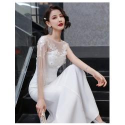 eg88  白色小晚禮服裙女2020秋季新款名媛宴會氣質走秀長款優雅魚尾演出