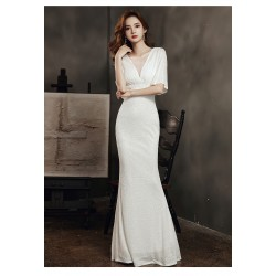cs30 端莊宴會晚禮服女2020秋季新款年會氣質白色仙氣魚尾修身顯瘦長裙   永和店