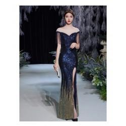 wn6 魚尾晚禮服裙女2020新款氣場女王宴會氣質藍色長款主持人高端名媛 永和租