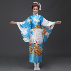 H4 cosplay 日本傳統女士和服長款和服睡袍浴衣舞台表演出寫真服裝