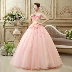 ES5 大萊 晚禮服 長款 結婚 婚宴 外拍 花朵 蕾絲 長裙 拖尾 彩紗 孕婦 敬酒服