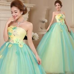 ES6 大萊 晚禮服 長款 結婚 婚宴 外拍 花朵 蕾絲 長裙 拖尾 彩紗 孕婦 敬酒服