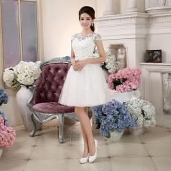 春新款一字肩禮服裙短款顯瘦伴娘服姐妹裙畢業禮服宴會小禮服