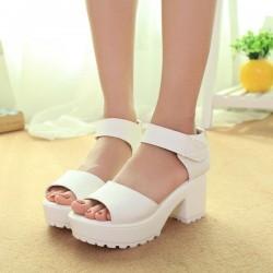 sh4 韓版粗跟防水台魚嘴涼鞋女夏季羅馬高中跟學生厚底松糕鞋坡跟女鞋