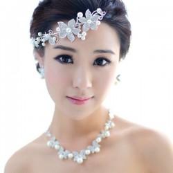 Dh1 新娘頭飾婚紗配飾 皇冠結婚禮飾品三件套韓式珍珠項鏈套裝