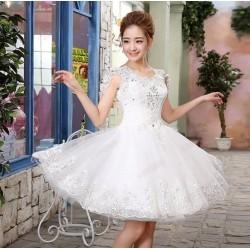 N7  質感 蕾絲 敬酒 新娘 婚紗 伴娘 婚禮 宴會 主持 領獎 公主 小禮服 表演服 出租