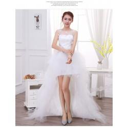 Lt11 奢華蕾絲性感抹胸前短後長可拆卸拖尾新娘婚紗禮服2016新款
