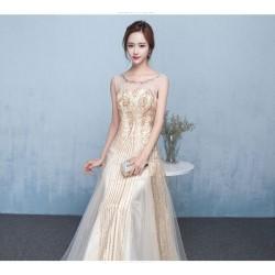 eg23  長款 大亨小傳 金 禮服新娘結婚敬酒服晚禮服