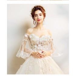 Lt12  奢華蕾絲 仙氣花瓣 空氣喇叭袖 蟬翼花朵 手工繡珠