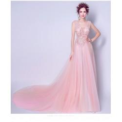 eg25 長款 粉色仙系 領蕾絲花朵 新娘婚紗敬酒服晚宴 年會演出禮服