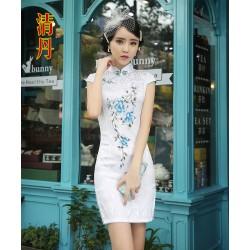 Ch2  改良短袖短旗袍禮儀紅旗袍走秀剪彩表演拍照短旗袍裙
