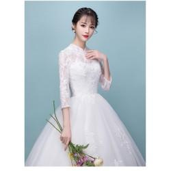 Lg6 2018秋冬新款高領一字肩長袖韓版公主顯瘦新娘結婚輕婚紗