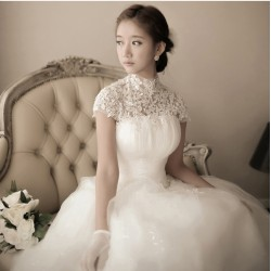 lg9 鑽石蕾絲韓式公主新娘綁帶一字肩婚紗禮服2018春夏新款影樓結婚