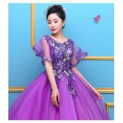 ES12 新款藝考服婚紗禮服彩紗演出蓬蓬裙影樓婚紗舞台獨唱演出服長款女