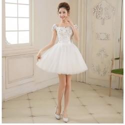 新款伴娘服 短款時尚結婚敬酒小禮服 一字肩短裙蓬蓬裙
