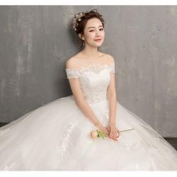 Ld9 一字肩婚紗禮服2018新款新娘結婚韓版齊地大碼顯瘦公主孕婦